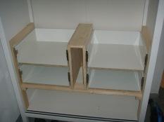 Schubladen ohne Fronten eingepasst